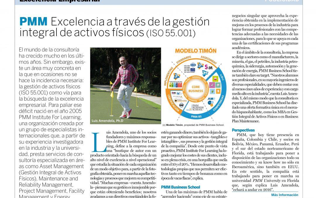 """EL PAÍS: """"PMM Excelencia a través de la gestión integral de activos físicos (ISO 55001)"""""""